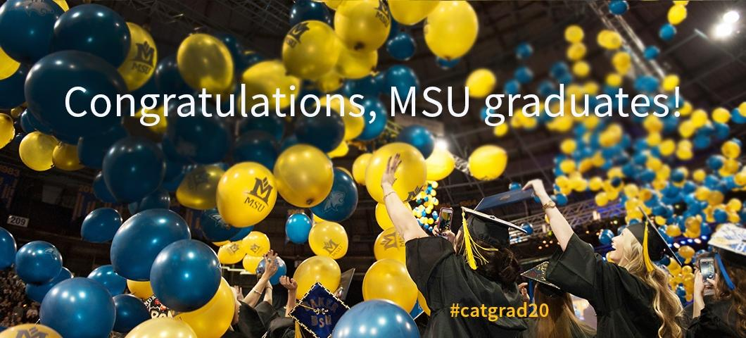 Blue and gold balloons and graduates celebrate in Brick Breeden Fieldhouse