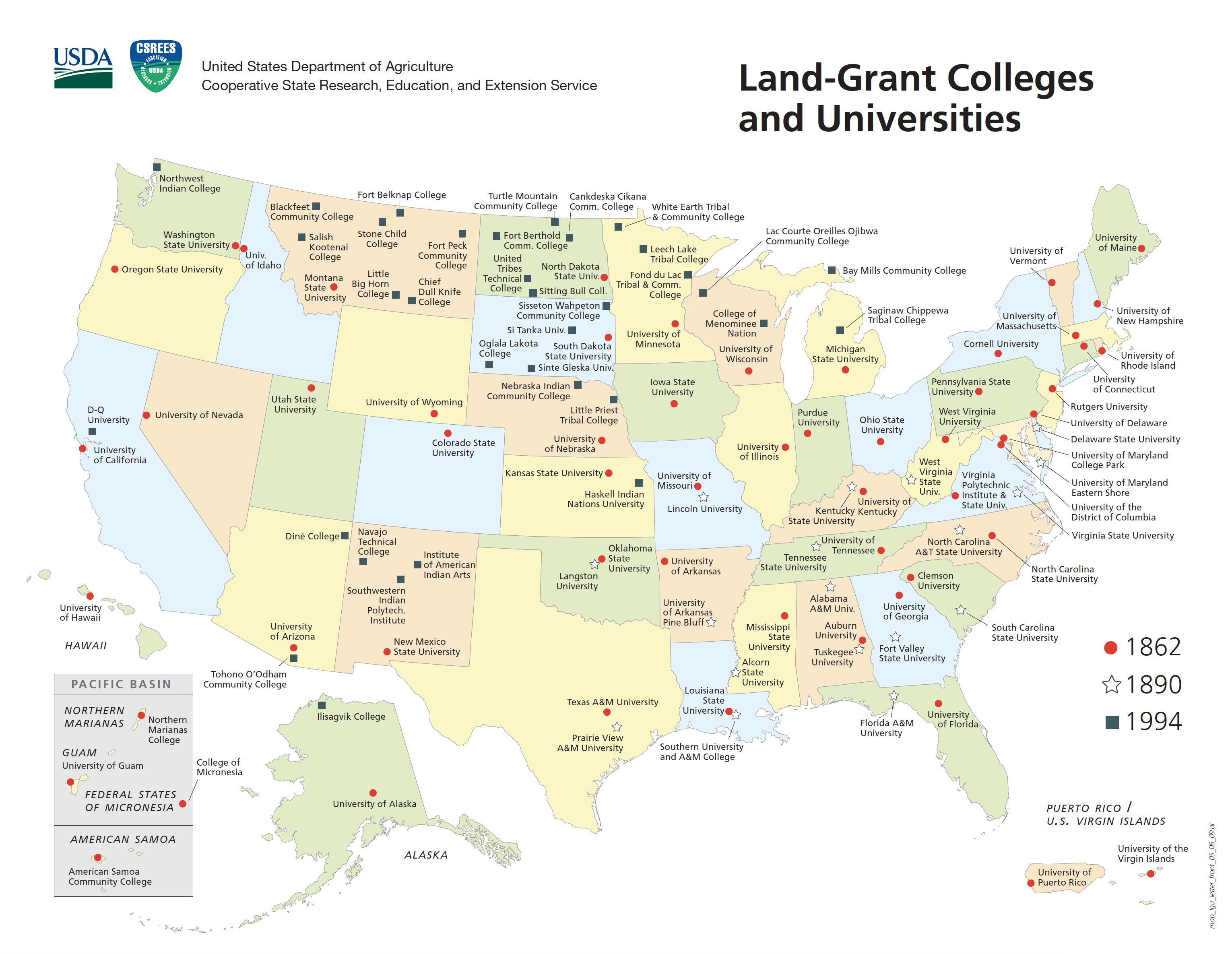 Land Grant Institution Map